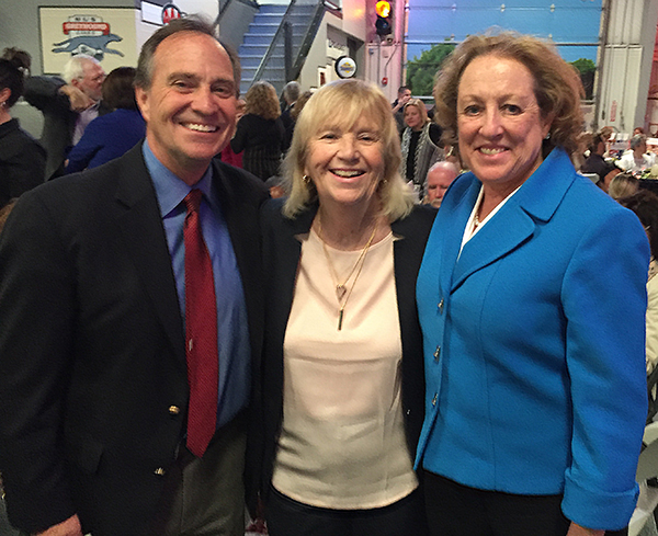 Congressman Ed Perlmutter and Colorado Community College System president Nancy McCallin celebrate Dr. Michele Haney's Lifetime Achievement in Education Award at the Jeffco Schools Foundation annual luncheon.
