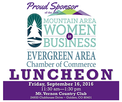 RRCC is a Proud Sponsor of the 2016 Evergreen Area Chamber of Commerce Women in Business Luncheon - Friday, Sept 16, 2016 - 11:30am to 1:30pm at the Mt. Vernon Country Club