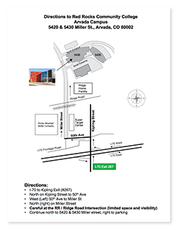 Arvada Campus Map Directions Red Rocks Community College