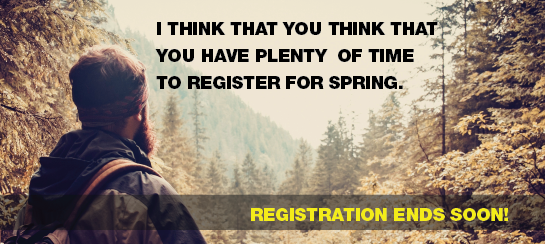 Registration for Spring 2017 is now open! Take a look at the Schedule.