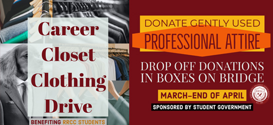 Career Closet Clothing Drive | donations accepted March 11-April 26 | Donate gently used professional attire.
