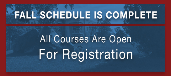 Fall schedule is complete and all courses are open for registration
