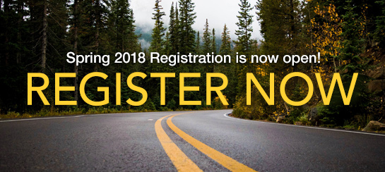 Spring 2018 Registration is now open. Register now!