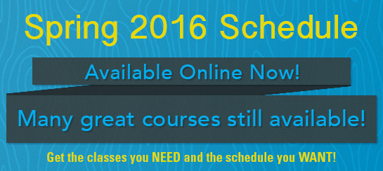 Our Spring 2016 Schedule is now available online! Many great courses to choose from!