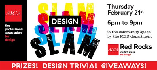 Red Rocks AIGA Club Design Slam: February 21 2019 6p-9pm: Community Room