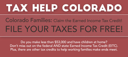 Tax Help Colorado - Red Rocks Community College, 13300 West Sixth Av. Fire Science Building, Room 3750 (Park in South lot; west entrance) January 30 – March 9 Saturdays, 9 am – 2 pm Wednesdays, 5:30 pm – 8 pm