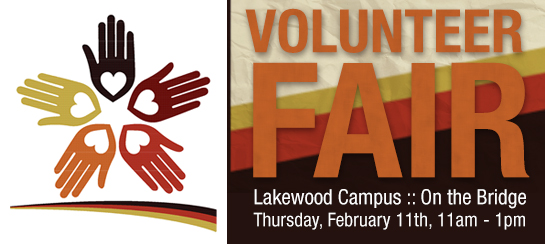Volunteer Fair: Thursday, February 11th, 11am-1pm, The Bridge
