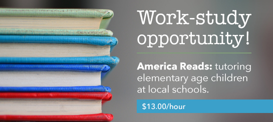 Work-study opportunity! America Reads: tutoring elementary age children at local schools. $13.00/hour Apply online – Jobs.rrcc.edu