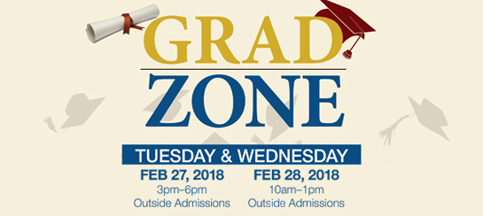 Grade Zone Feb 27, 3-6pm and Feb 28, 10am-1pm Outside Admissions