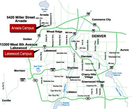 Red Rocks Map Directions to Lakewood and Arvada Campuses | Red Rocks Community