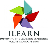 "ILEARN Logo - a five-pointed pinwheel with ""Improving the Learning Experience Across Red Rocks Now"" printed below it"