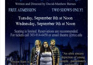 FROZEN STARS, 9/8 and 9/9 at 12:00 noon, RRCC Theatre