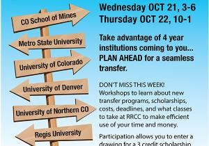 Transfer Fair Wednesday, October 21st 3pm-6pm and Thursday, October 22nd from 10am-1pm