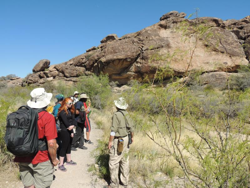 Students and faculty on the trail during a field course