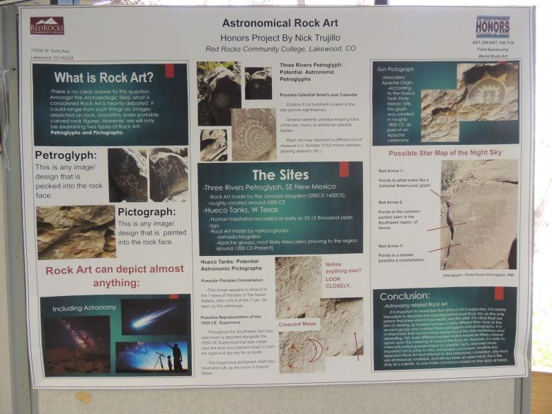 Student project poster on Rock Art and Astronomy by Nick Trujillo