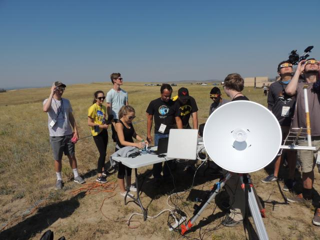 Colorado Eclipse Live Stream Project team members working on the receiver