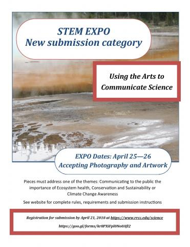 Using the Arts to Communicate Science at the STEM EXPO April 25-26, 2018. Register at www.rrcc.edu/science