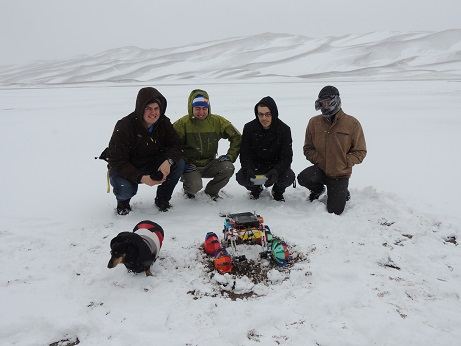 A picture of the robotics team at Great Sand Dunes during the State Robotics Challenge in April 2016
