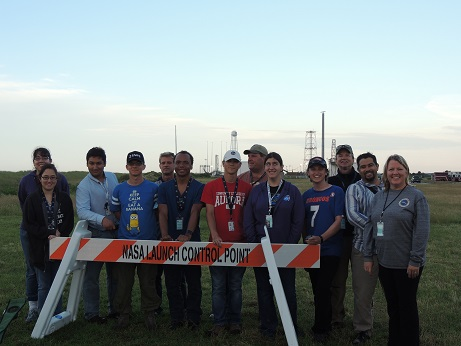 Students and faculty on the RockSat project at Wallops Space Flight Facility launchpad in Virginia