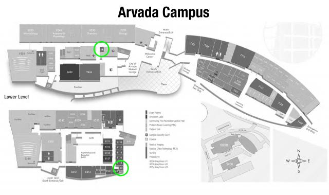 Gender nuteral bathrooms at the Arvada campus are located across from room 9230 (Chemistry Lab) on main level and between rooms 8122 and 8118 on the lower level.