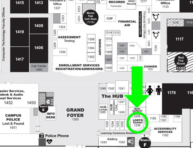 Map showing location of LGBTQ Center, located in room 1237; enter the main Learning Commons Doors, take an immediate right into the HUB, the LGBTQ+ Center past all the offices in the back right corner, between The Center for Inclusion & Diversity and the Center for Multcultural Excellence.