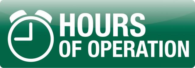 Hours of Operation Signage