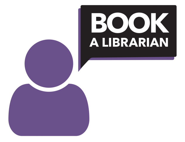 Logo for Book a Librarian service. Link takes you to the scheduler for Book a Librarian